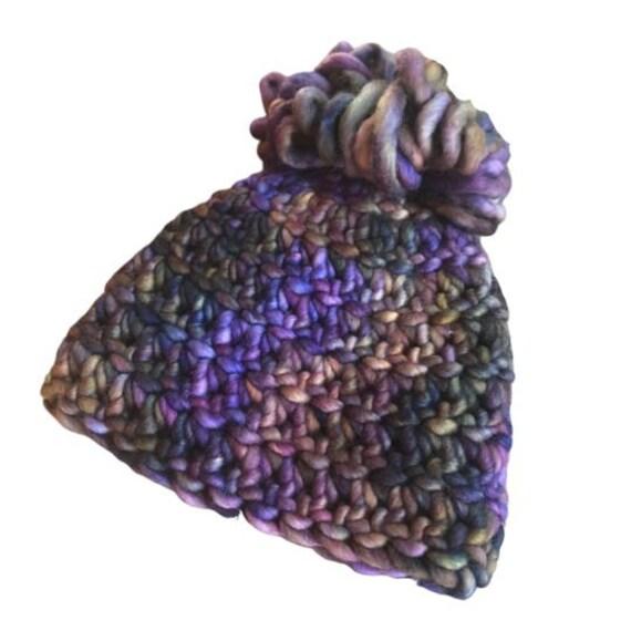 Custom Handmade Crochet Pom Pom Hat - 100% Malabrigo Rasta Merino Wool - 0-3 Months