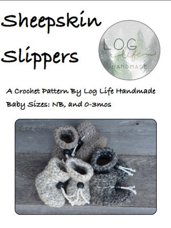Infant Sheepskin Crochet Slipper PDF Pattern - newborn/0-3 months