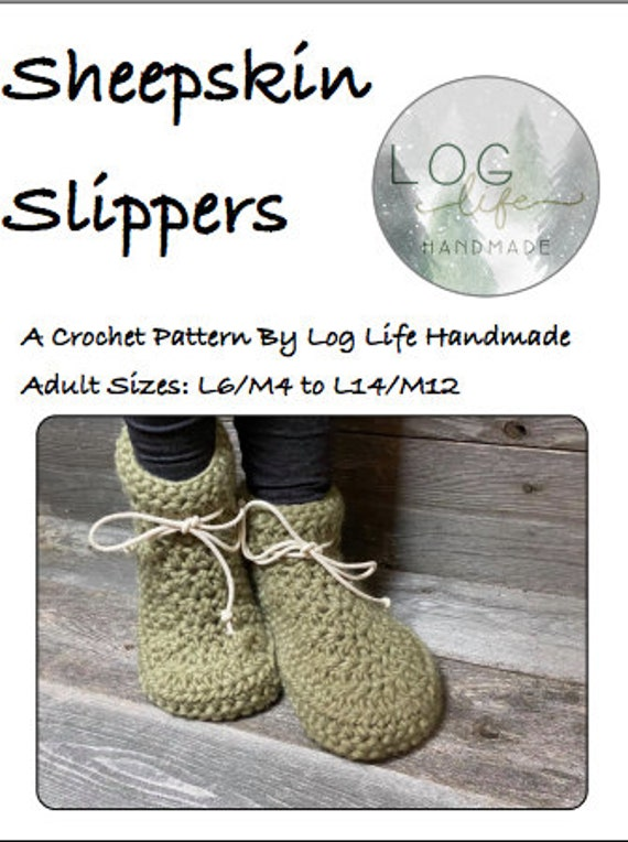 Adult Sheepskin Slipper PDF Pattern - Ladies 6/Mens 4 to Ladies 14/Mens 12