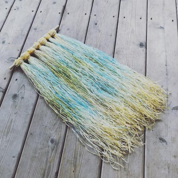 Macrame Driftwood Wall Hanging - Hand Dyed Linen Paper