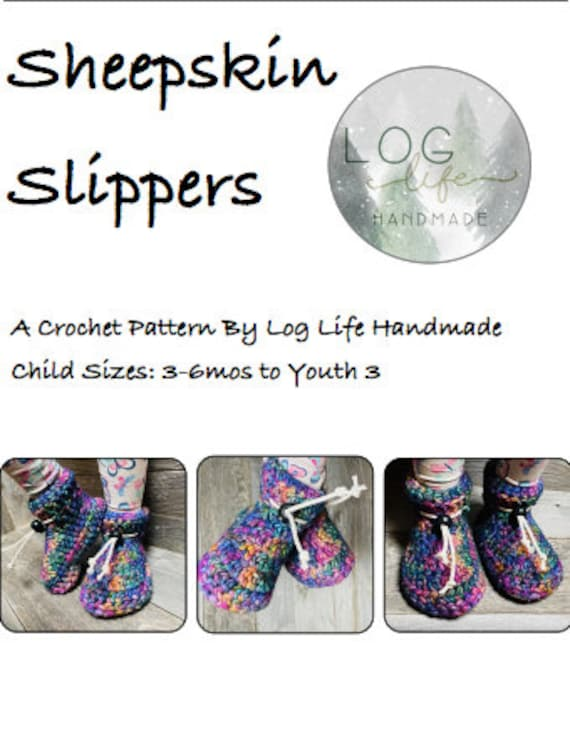 Child Sheepskin Slipper PDF Pattern - child 3-6 months to youth 3