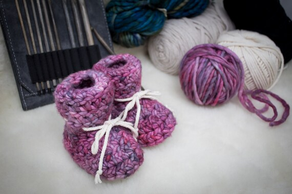 Baby Booties - 0 to 3 Months - Malabrigo Wool - Sheepskin Soles - Slippers