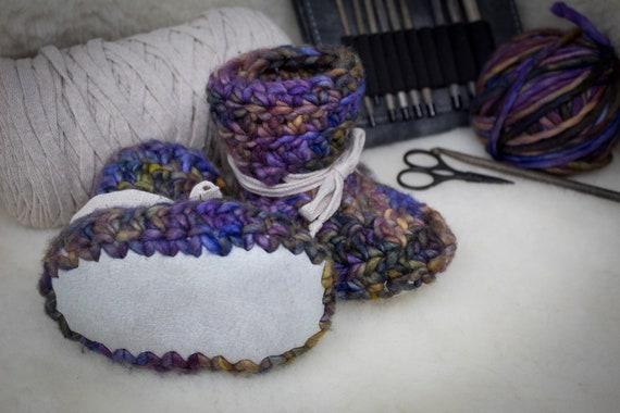 Baby Booties - 6 to 12 Months - Malabrigo Merino Handdyed Wool - Sheepskin Soles - Slippers