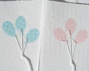 Handmade Paper Card Balloons Polka Dots, Birthday Card for Boys or Girls