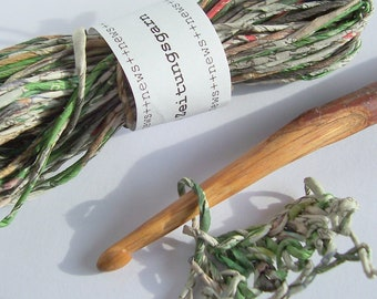 Newspaper Yarn Silvan Glade 10 m, Recycled Green Paper Yarn from Newspaper Pages