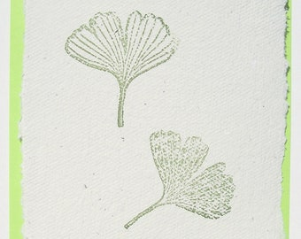 Handmade Paper Note Card Ginkgo, Deckle-Edged Post-Card Ginkgo