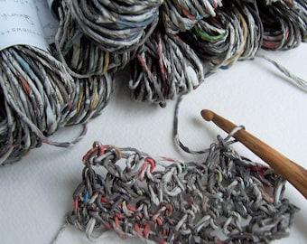 Dark Newspaper Yarn 10 m, Recycled Paper Yarn