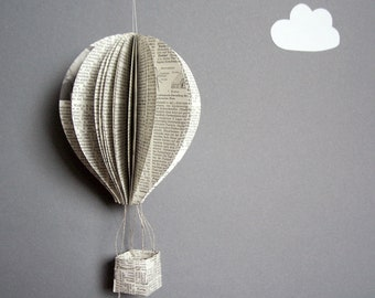 Hot air balloon from old book pages, paper decoration Montgolfiere for hanging