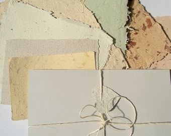 Natural Paper 7 Handmade Paper Sheets Mix, Deckle Edged Crafting Paper Kit