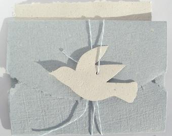 Nostalgic Blue Handmade Paper Stationary Dove