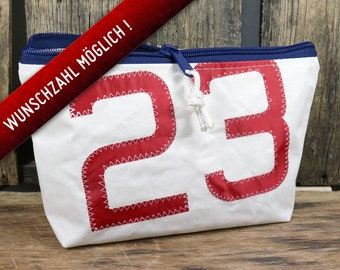 Personalized toiletry bag sail with two numbers