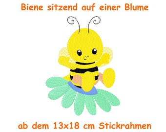 Embroidery file bee filling stitch 13x18 sitting on a flower embroidery motif embroidery pattern bees spring spring honey flowers