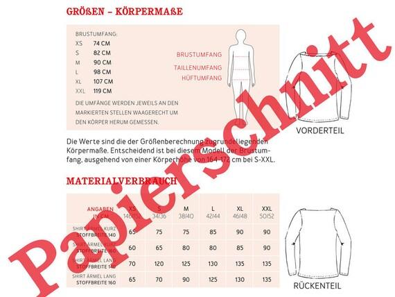 Papierschnittmuster Studio Schnittreif FRAU MARLENE Basicshirt einzignartig