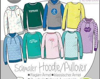 Papierschnittmuster Kibadoo Mix & Match Schmaler Hoodie Sweater  Gr. 80 - 164