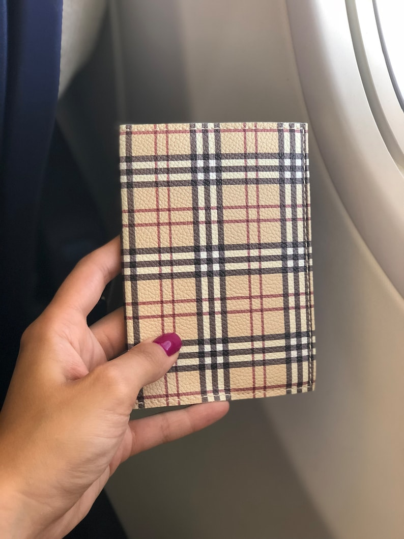 f9efb1c412ee Passport Holder fashion checkered beige eco leather travel cover for  document gift idea for woman girls stylish case adventure style