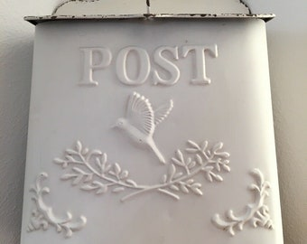 Letterbox POST Shabby Chic Vintage Country House Antique Metal Cream / White 35x24