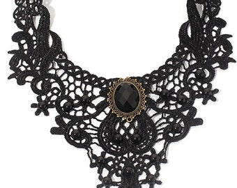 Gothic Necklace, Lace Victorian, Stone