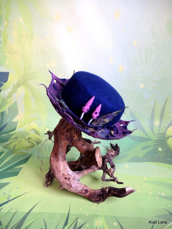Goblin hat Pixie hat Fae F\u00e9e, Felt fairy hat Fantasy goblin felt hat Fairy headdress Druid outfit Wizard hat Forest elven cosplay