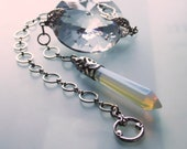 Sun catcher opal glass pendulum with rainbow crystal