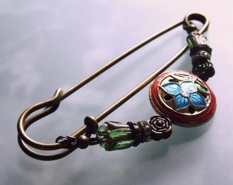 Kilt pin black gold Art Nouveau Cloisonne black large cloth needle