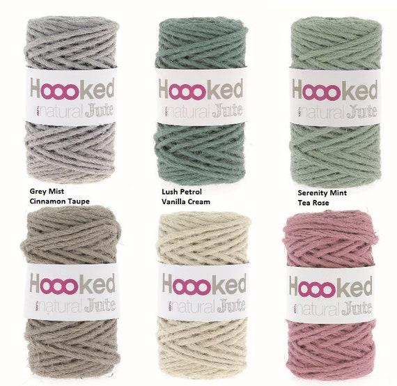Hoooked Natural Yute Gris Mist-Crochet Hilo De Ganchillo 100/% Natural Yute