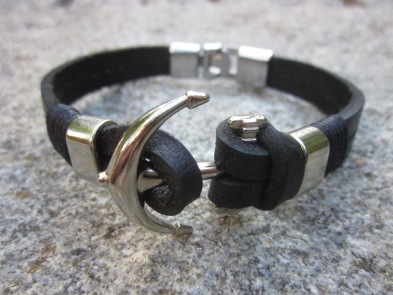 Cult Bracelet Made Of Leather With Anchor As A Symbol Of Love Etsy