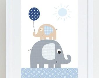 Kinder Poster Elefanten A4 Mint Grau Babyzimmer Etsy