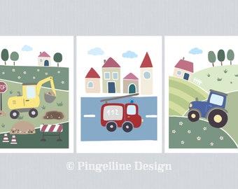 Traktor Kinderzimmer Kunst Etsy