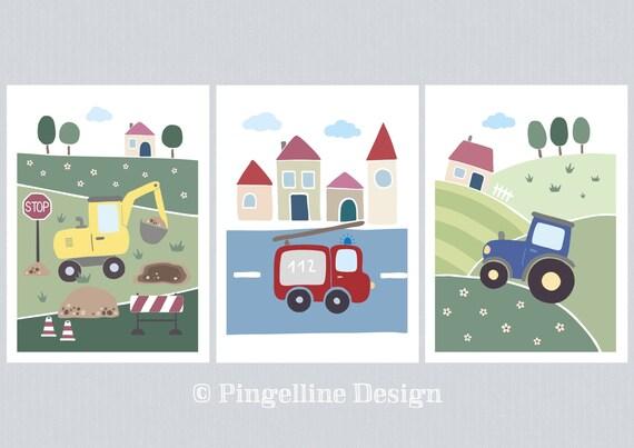 Kinderzimmer Poster Fahrzeuge A4 Feuerwehr Bagger Etsy