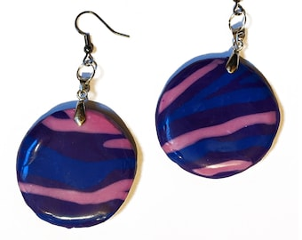 Bisexual - Circle Zebra Clay Earrings