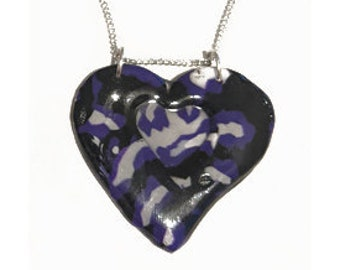 Asexual -  Leopard Print Heart Necklace, in Black