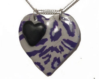 Asexual -  Leopard Print Heart Necklace, in Grey