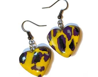 Nonbinary - Heart Leopardprint Clay Earrings