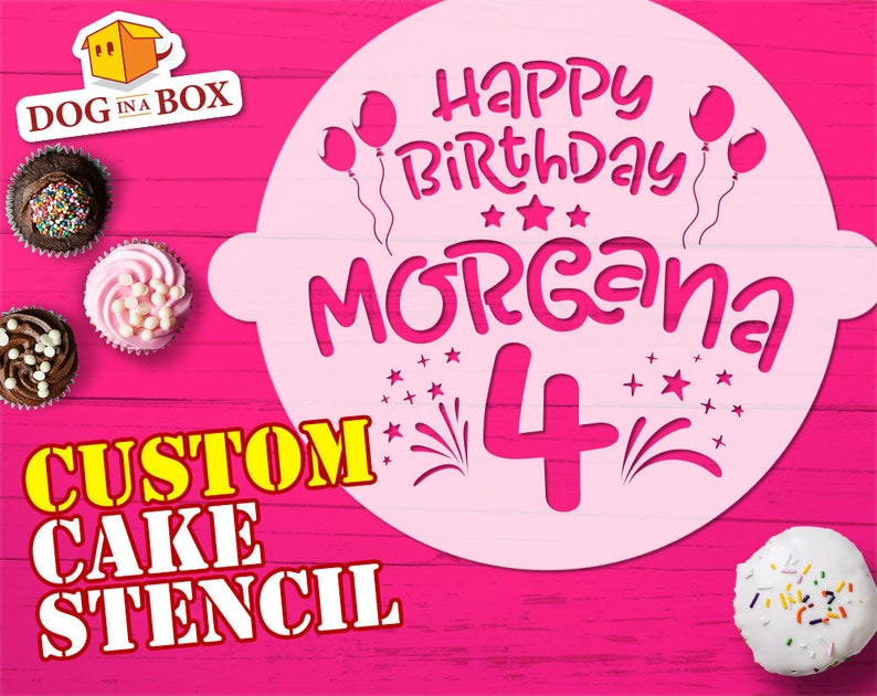 Custom Happy Birthday Cake Stencil Reusable Mask For