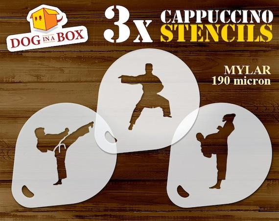 coffee stencils karate stencil set of 3 cappuccino stencil cookie stencils kung fu stencil Martial Art stencils face painting stencils