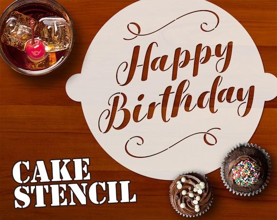 Cool Happy Birthday Cake Stencil Happy Birthday Stencil Classy Etsy Personalised Birthday Cards Vishlily Jamesorg