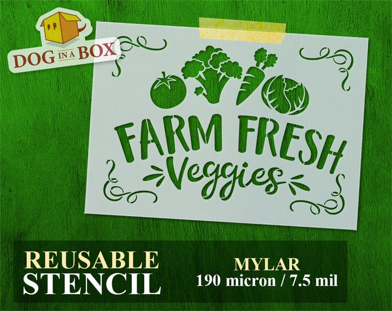 veggies stencil farm stencil vegetables stencil Farm Fresh Veggies stencil n.2 reusable stencil for painting stencils for Wood Signs