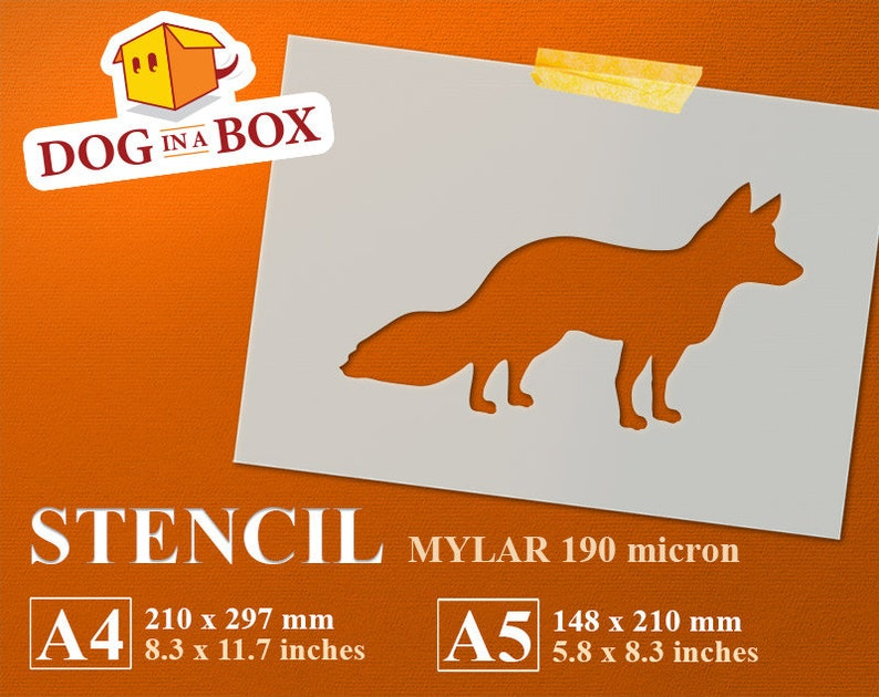 stencil A4 fox Fox stencil n.2 reusable stencil animal stencil fox silhouette A5 wild animal stencil stencil for painting 8x10