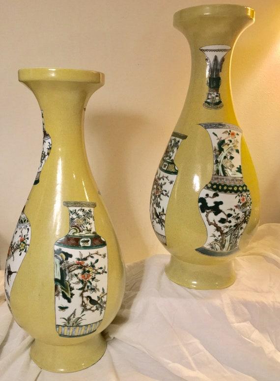 Imperial Kangxi Vases Chinese Antique Vases X2 Large Qing Etsy
