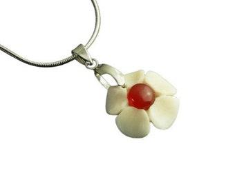 Chain flower pendant made of deer bone agate stone red white