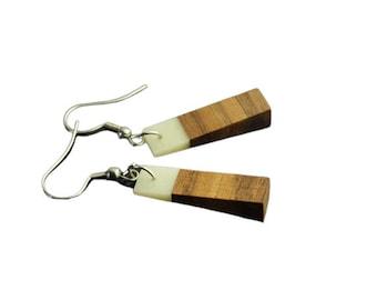 Earrings walnut wood and deer bones