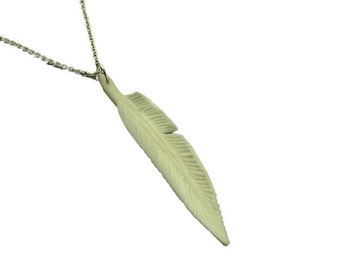 Chain deer feather white pendant bone feather