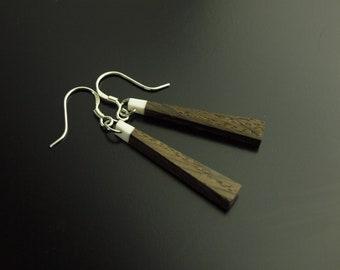 Earrings bog oak with deer bone 925 silver