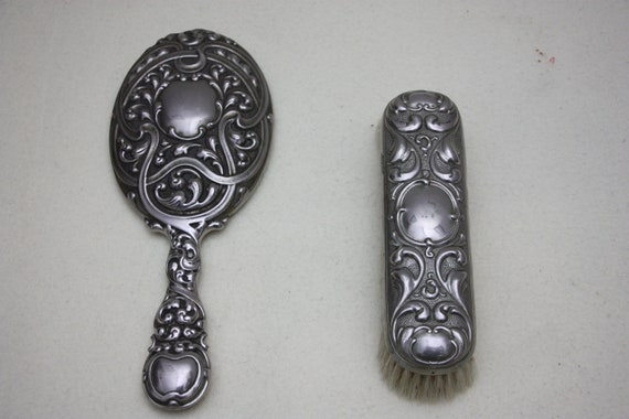Antique hairdressing mirror with hairbrush, make-… - image 1