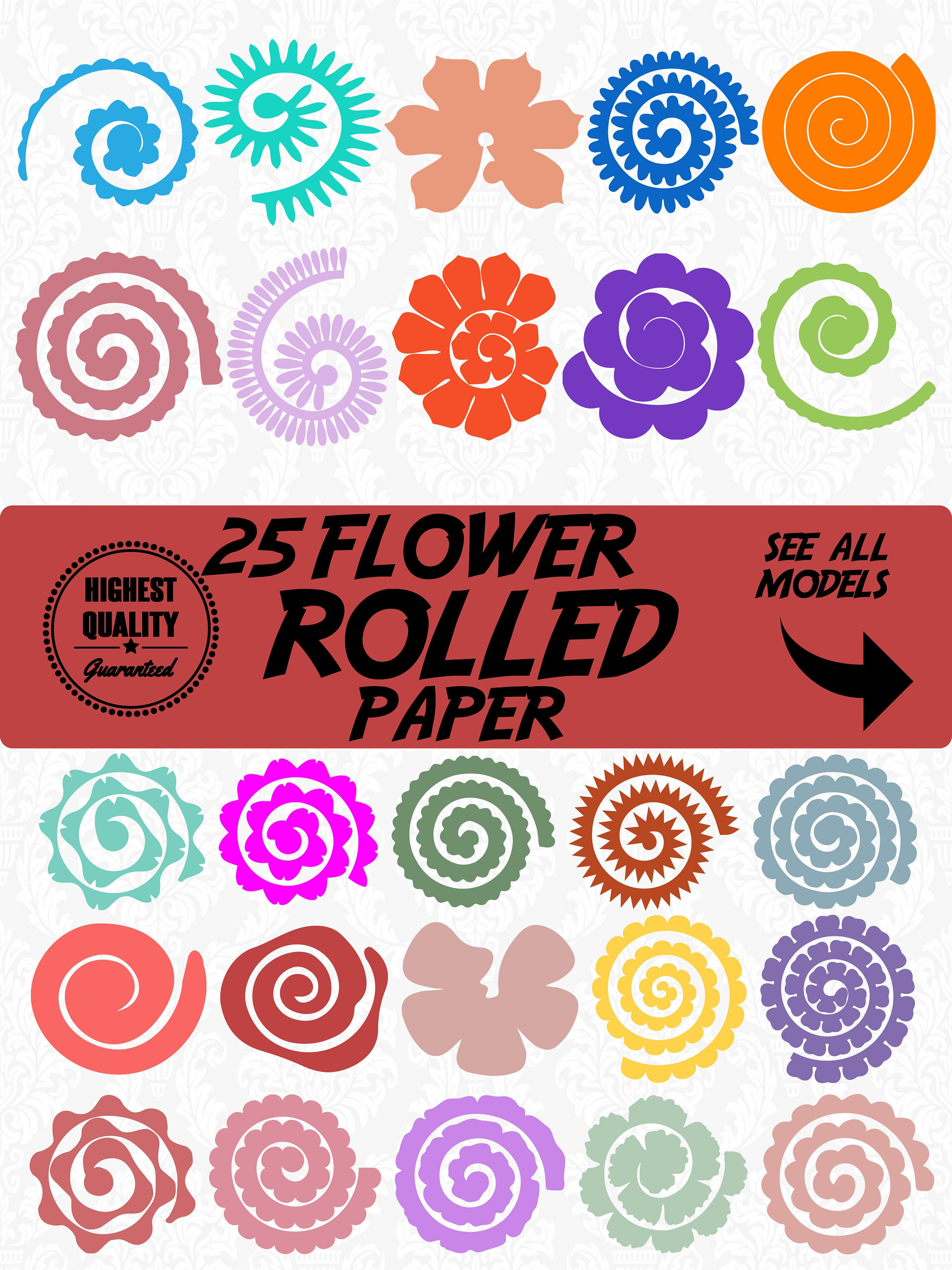 25 Bundle Flower Rolled Paper Flowers Rolled Paperrolled Etsy