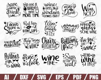 Wine Bundle Svg - Wine Svg - Wine Glass Svg - Drinking Svg - Wine Cut Files - Wine Sayings Svg -Printable - Wine Quote Svg-Svg For Wine Glas
