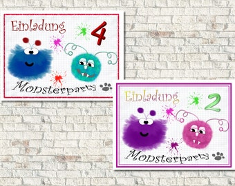 Einladungskarte Kindergeburtstag Monster, Text änderbar