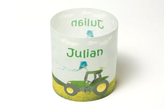 4 x Tischlicht Schuleingang Tischdeko Windlicht Einschulung Deko Name,Traktor