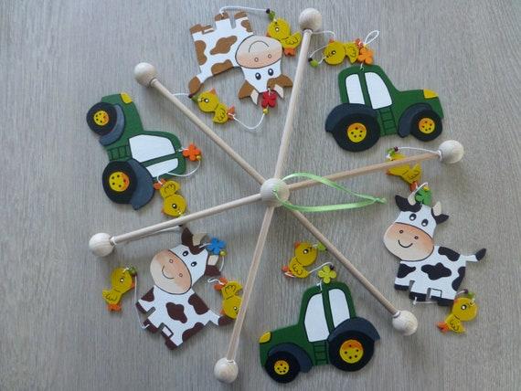 Mobile Traktor Mellenkreationen Kinderzimmer Tiere Holz Baby Geschenk Geburt Taufe Mobile Bauernhof Junge Babybett Babyspiel