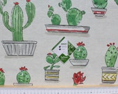 Cotton coated, fabrics, textiles Vilber, Santa Fairy, cacti, aloe vera, Teflon coated, width 140 cm, colors white coloured